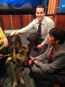 Matt DeSarle works with Lara on dog segment at KMBCTV